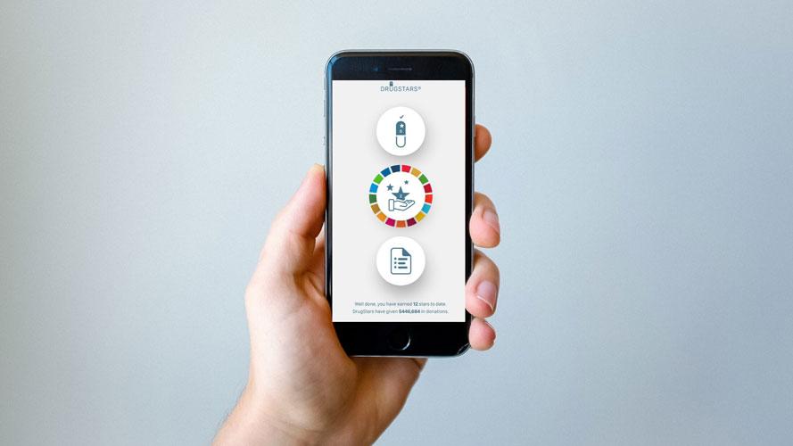 Smartphone with drugstars application visual